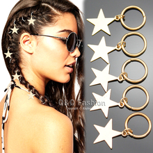 Gold Silver 5x Fab Shooting Star Hoop Bead Mambo Dreadlock Dreads Updo Claw Bride Hair Pins Clip Dress Clip Jewelry Accessories