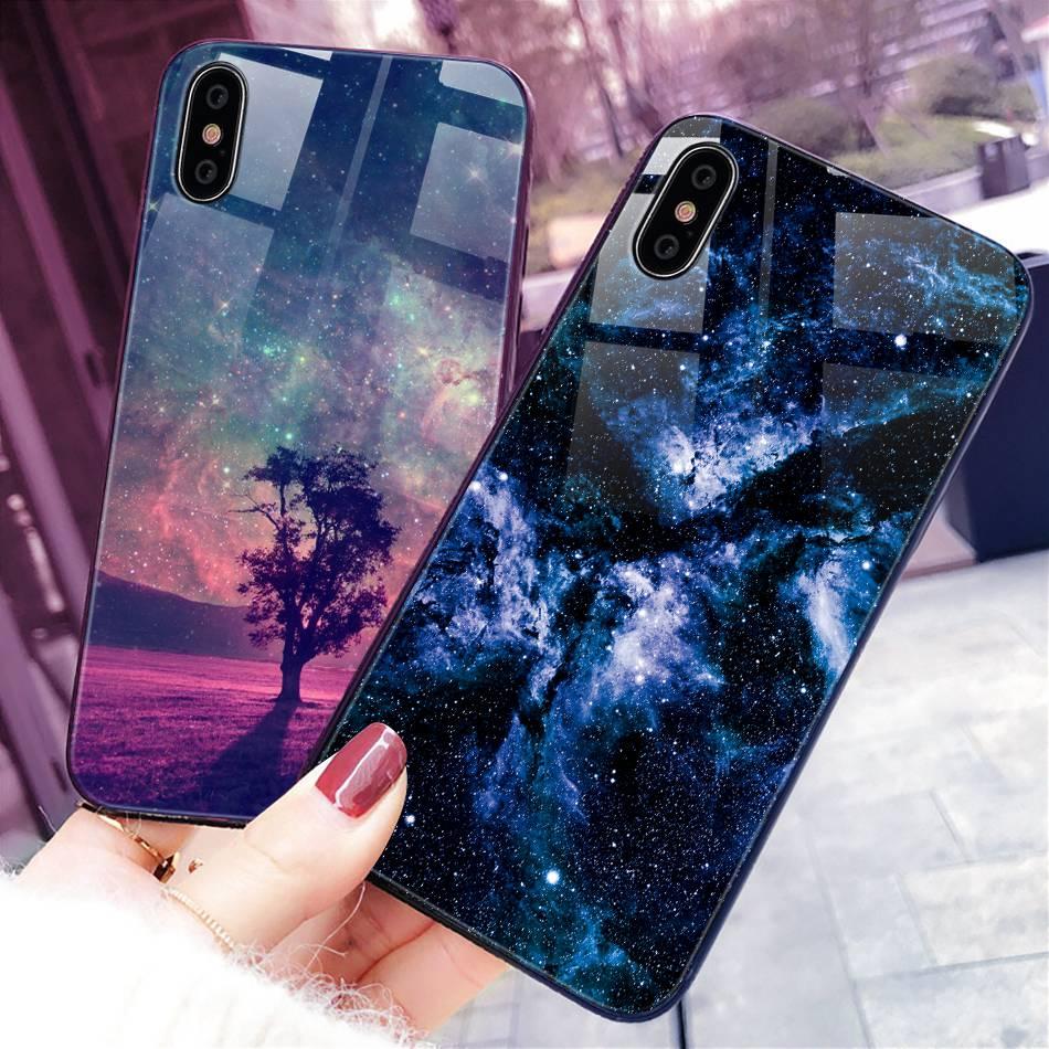 iPhone X Xr Xs Max豪华硅胶手机壳适用于iPhone 6的iPhone 7 8 Plus手机壳适用于iPhone 6 6S Coque的渐变钢化玻璃保护套(22)