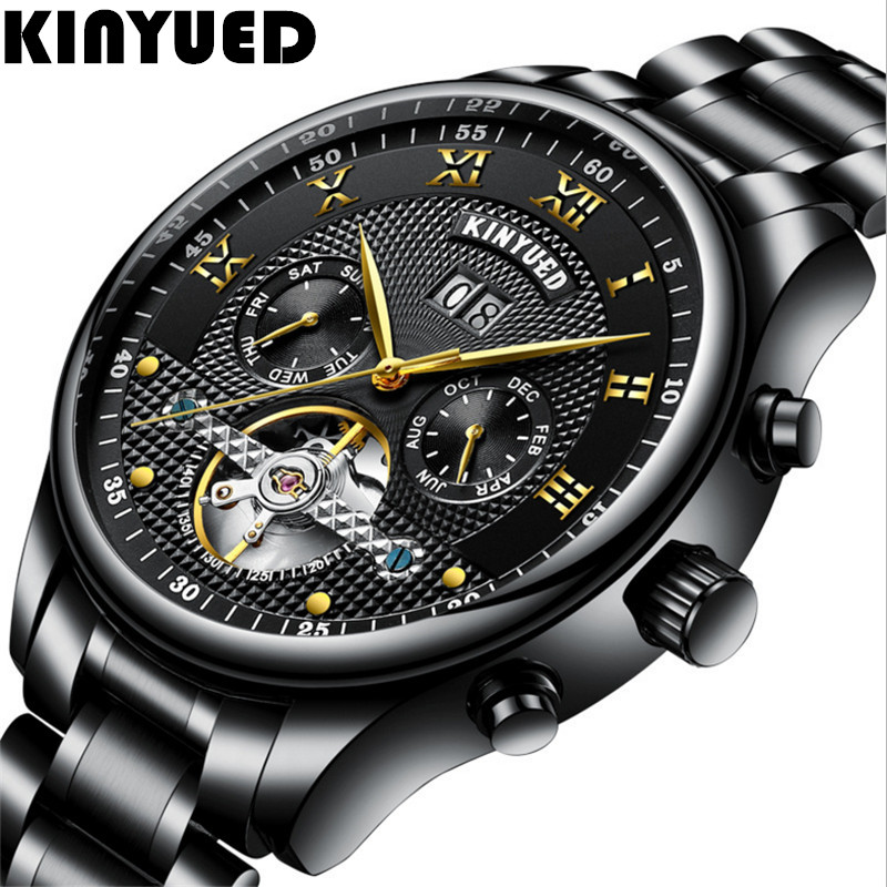 KINYUED Skeleton Automatic Mens Watch Waterproof Flying Tourbillon Mechanical Mens Watches Winding Clocks Mannen Dropship<br>