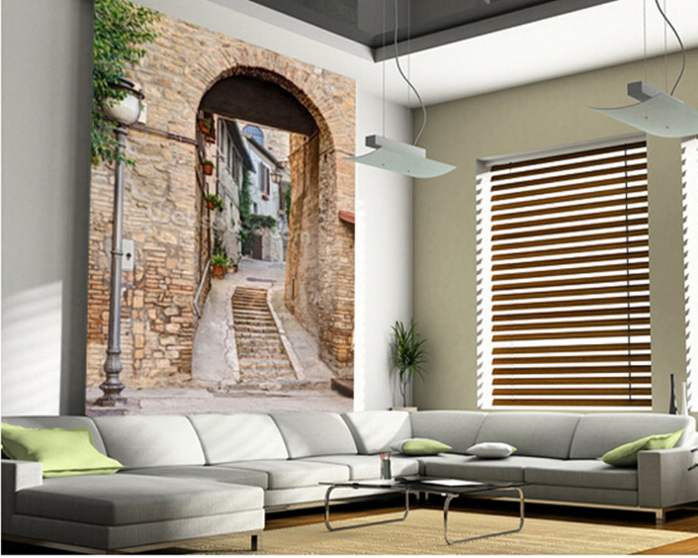 Custom modern wallpaper.Ancient Alley in Bevagna, Italy,3D landscape photo for living room bedroom restaurant wall PVC wallpaper<br>