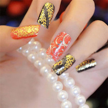 Hot Sale 108PCS Sliders Retro Hollow Embossed 3D Nail Stickers Gold Foil Blooming Flower 3D Nail Art Stickers Decals(China)