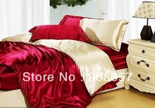 luxurious imitated silk fabric adult bedding set burgundy beige color print bed in a bag queen/full duvet covers sets bed linens