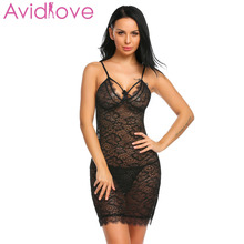 Buy Avidlove Lingerie Sexy Hot Erotic Nightdress Sex Costumes Women Transparent Floral Lace Babydoll Chemise Nightgown Sex Negligee