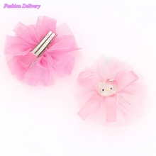 2pcs/lot Cute Cartoon Hello Kitty Hair Clips For Children Gauze Lace Bowknot Ribbons Hairpins KIds Hair Styling Accessories