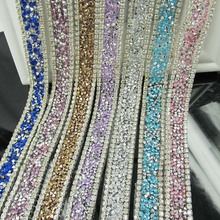 rhinestone banding,20cm/lot,DIY crystal trim many colors 18mm sandal decoration accessories,blue gemstone silver trimming