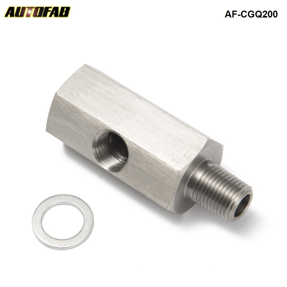 "1/8"" NPT Oil Pressure Sensor Tee to M10X1.0 NPT Adapter Turbo Supply Feed Line Gauge AF-CGQ200"