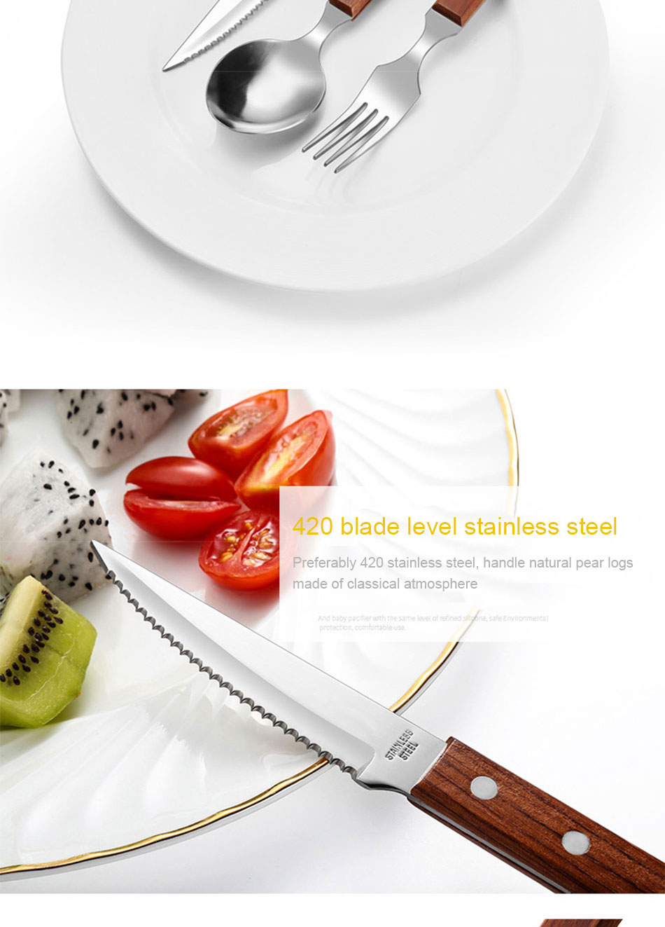 Chic Wooden Handle Dinnerware Set Stainless Steel Black Rosewood Knife Fork Tableware Cutlery European Western Food Set 3pcs (6)