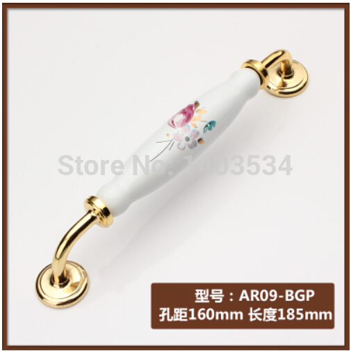 Length 185mm Hole CC 160mm Zinc alloy golden color Modern handle cabinet ceramic handle drawer pulls tulip Flower print<br><br>Aliexpress