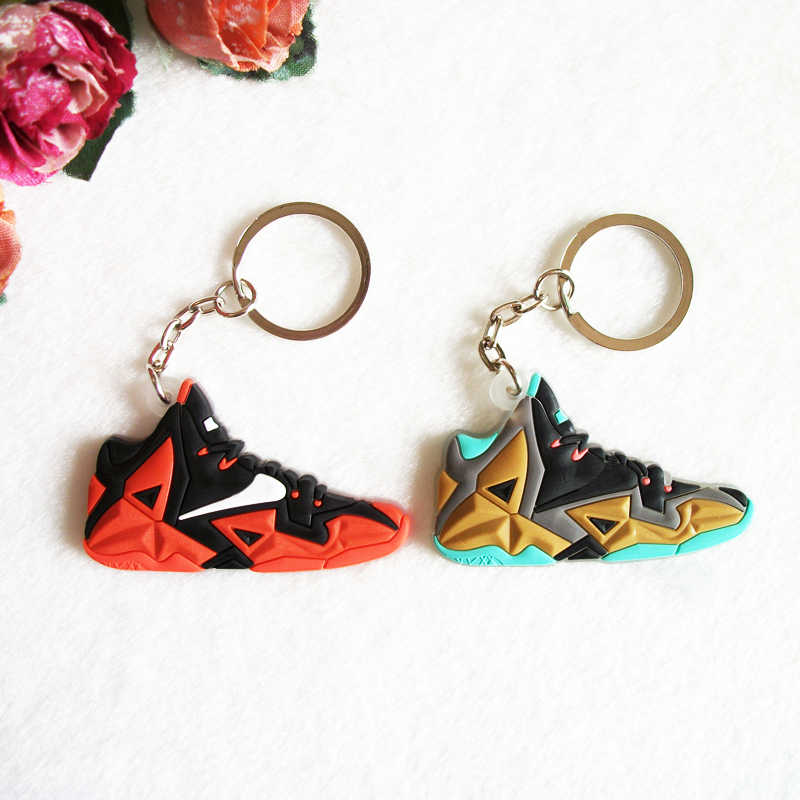 655ccd6c9c8f Mini Silicone Jordan Lebron Keychain Bag Charm Woman Key Ring Gifts Sneaker  Key Holder Pendant Accessories
