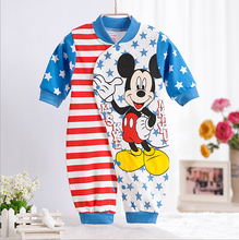 2017 Mickey rompers for baby Girls Romper Long sleeve Minnie cartoon outwear Jumpsuit for Infant newborn Clothing Cow dot(China)