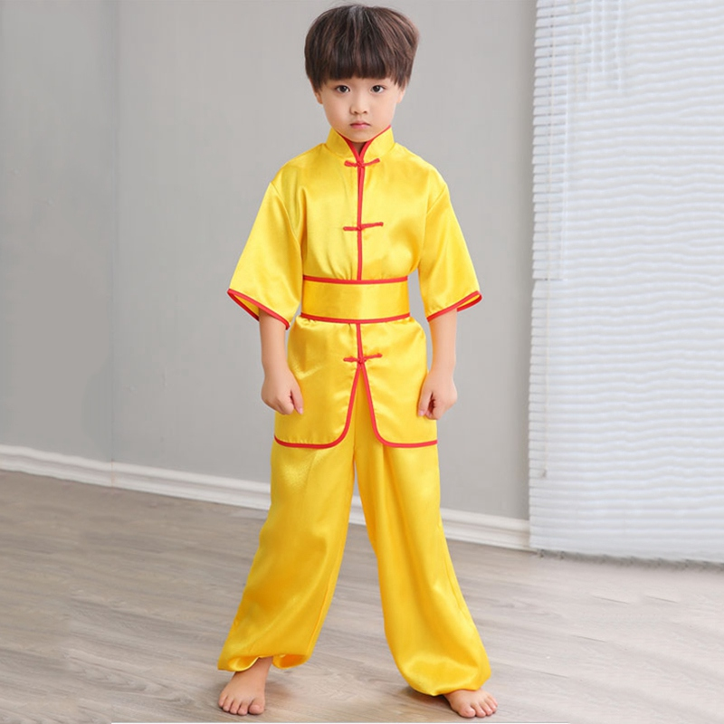 Child Clothes Martial Arts Uniform Short Sleeve Kids Kung Fu Kids Clothing Stage Perform Costume Comfortable Children Clothing