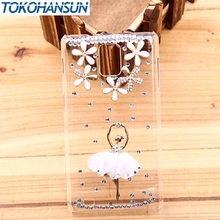 for oppo find 5 x909 x909T Rhinestone Shell Female Ballet Dress Dance Girl with Flower Transparent Hard Phone Case