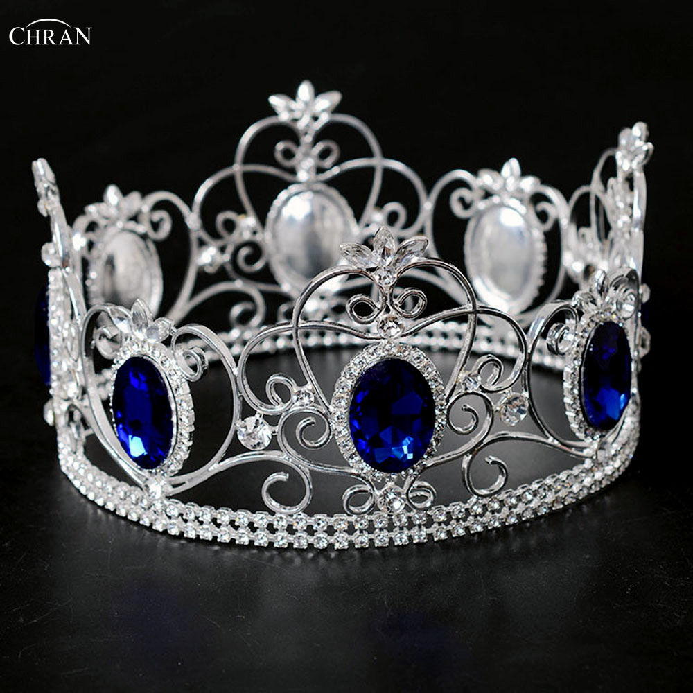 CHRAN Blue Hair Crown Bride Rhinestone Crystal Tiara For Wedding Hairbead Pageant Headband Girls Hair Accessories Jewelry CRC211