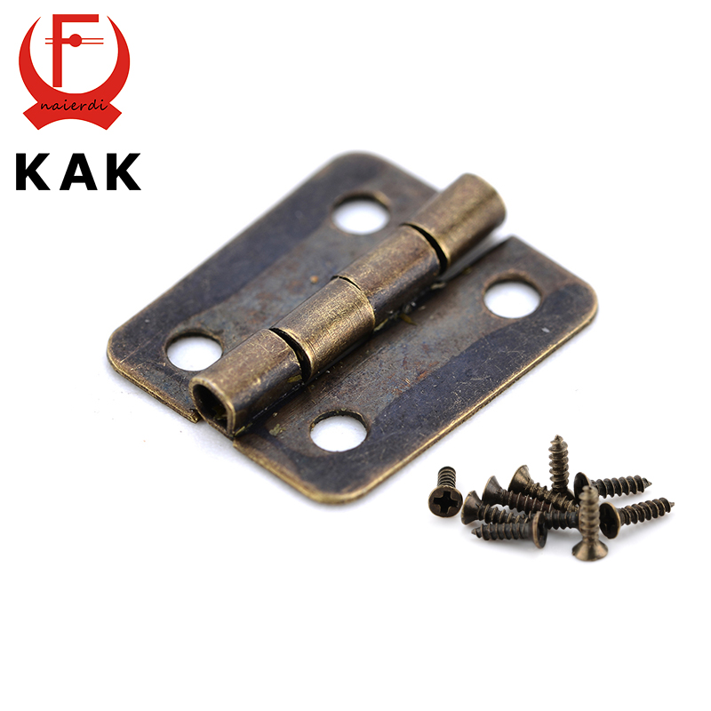 10PCS KAK Mini Bronze Gold Hinge Square Antique Door Hinges For Wooden Cabinet Drawer Jewellery Box Furniture Hardware(China (Mainland))