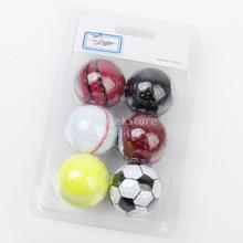 Assorted Designs Golf Balls (Basketball, Football, Tennis, Baseball, 8-Ball, Volleyball) - 6 balls(China)