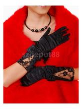 Fairytale Princess Black Bow Lace Short Party Gloves/protect 7056(China)