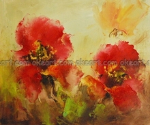 oil paintings on canvas free shipping decoration art Flowers decoration Red Poppies Office background modern abstract art(China)