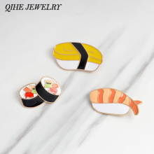 QIHE JEWELRY Brooches & pins Sushi Japanese enamel pin Lapel pin for women jacket backpack tote bag decorative accessories(China)