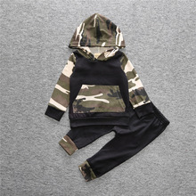 INS 2017 Spring Fashion Newborn Kids Suits Baby Boys Cloth+pant Children with Cap Camo Hoodies Pant Suit