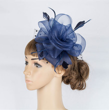 Fancy color crinoline fascinator headwear colorful mesh feather church show hair accessories millinery women cocktail hat MYQ039(China)