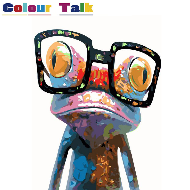 Animals DIY Painting By Numbers Kits No Frame Poster Pictures Paint Canvas Coloring Painitng By Number For Home Wall Decor Frog