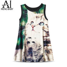 Ai Meng Baby Summer Little Girl Cat Horse Pattern Girl Kitty Dress Kids Party Dresses for Girls Children Clothing Frock Smock 7T