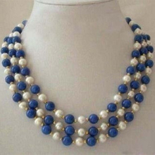 Fashion 3 rows white round pearl blue lapis lazuli chalcedony stone clasp diy beautiful necklace jewelry making 18-20 inch BV357