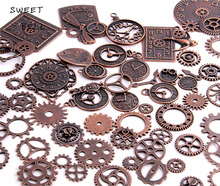 40pc/lot Diy Vintage Charms Metal Zinc Alloy Gear Pendant Charms Mixed Steampunk Clock Gear Charms for Jewelry Making H3013(China)