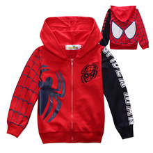 New arrival boys Spiderman printing hoodies jackets spring&autumn long sleeve outerwear kids Sweater coat(China)