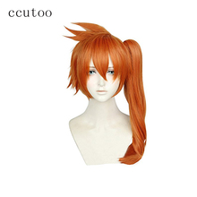 ccutoo My Hero Academia Boku no Hiro Akademia Itsuka Kendo Orange Synthetic Hair Cosplay Wig With One Curly Chip Ponytail(China)