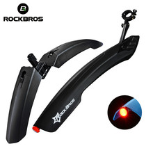 ROCKBROS Bicycle Fender Wings Cycling MTB Road Bike Front Rear Fenders Mud Guard Mudguard Durable Fenders LED Light Fender Wings(China)