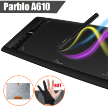 Parblo A610 Digital Graphics Drawing Tablet  w/Rechargeable Pen Grafico 5080LPI + Wool Felt Liner Bag Cover + Glove as Gift