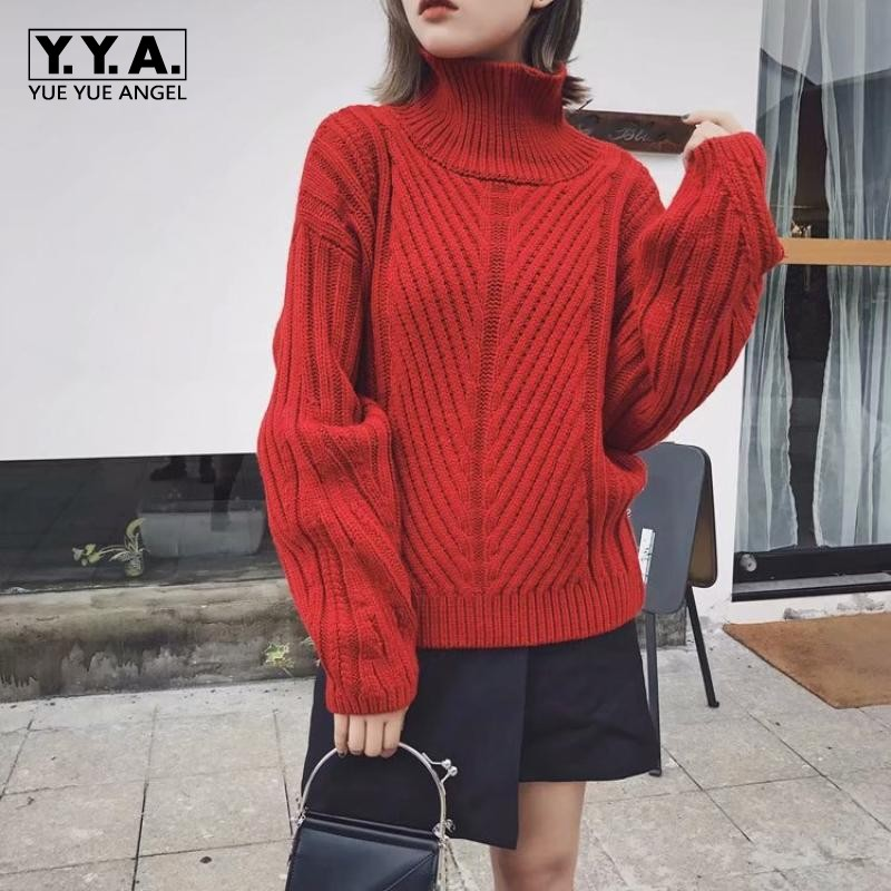 2019 New Autumn Winter Turtleneck Ladies Pullover Lantern Sleeve Casual Womens Sweater Loose Fit Fashionable Knit Female Jumper