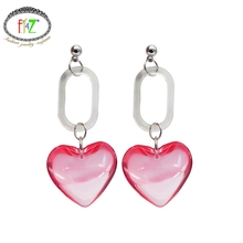 F.J4Z New arrival girls party show dangle earrings Fashion lovely clear pink/green/yellow acrylic heart Drop Earrings For Women(China)
