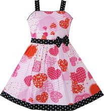 Sunny Fashion Girls Pink Heart Bow Tie Party Sundress Kids Clothes SZ Cotton 2017 Summer Princess Wedding Dresses Size 4-12