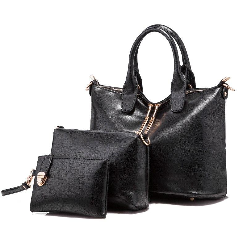 3 Sets Brand 2017 Women Bag Composite Bag Handbag Solid High Quality Leather Messenger Bag Female Versatile Drop Shipping<br>