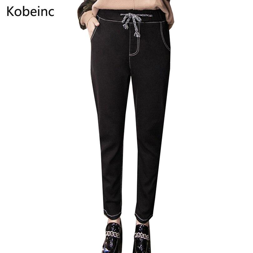Large Size Women Jeans Fashion Solid Washed Denim Pants Slim High Waist Drawstring Harem Pants Retro Winter Women TrousersОдежда и ак�е��уары<br><br><br>Aliexpress