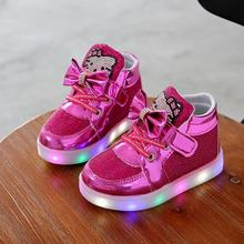 HOT! Kitty Cat Diamond Princess Girls Sports Shoes Autumn-Winter Cartoon LED Sneakers Korean Children High Top Boots Kids Shoes(China)
