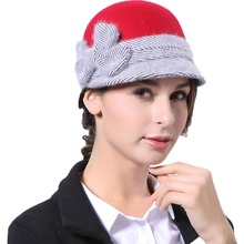 June's Young Women Hats Red black Two Color Wool and Rabbit Feather Material High Quality Special Design Cute Lady Wool Fedoras(China)