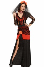 New 2016 Club Party Sexy Adult Day of The Dead Diva Halloween Costume LC8987 Sexy Halloween Ghost Vampire Bride Fancy Dress(China)