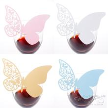 50Pcs Butterfly Wedding Place Card Table Mark Wine Glass Butterfly Name Place Cards Wedding Party Favor Free Shipping