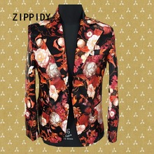 New Fashion Printed 4 Style Floral Men's Suit Jacket Nightclub Male Singer Dj Blazer Costumes Luxury Slim Stage Prom Show Wear(China)