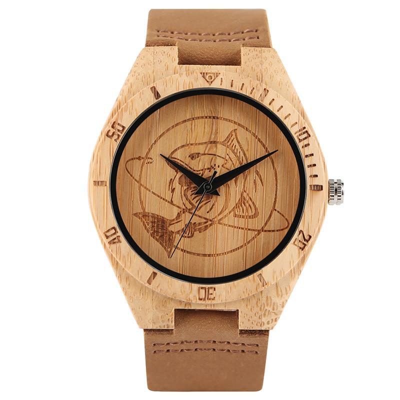 ลำลองผู้ชายผู้หญิงไม้นาฬิกาพิเศษขนาดใหญ่ฉลามแบบสายหนังแท้ธรรมชาติไม้ไผ่ควอตซ์นาฬิกาข้... 1