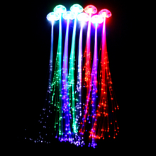(500pcs/lot) Glowing LED Braid Novelty Rave Decoration Hair Extension by Optical Fiber Birthday Party Christmas Decoration