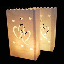 10Pcs Double Heart/Big love/sun/Moon light Holder Luminaria Paper Lantern Candle Bag For Party Wedding Decoration