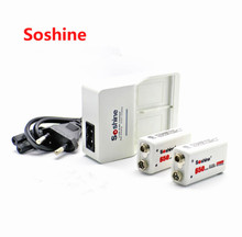 Promotion 1 Piece Soshine 9V 6F22 Intelligent charger (EU/US Plug) + 2 pcs Soshine 9V 650mah polymer Rechargeable Li-ion battery(China)