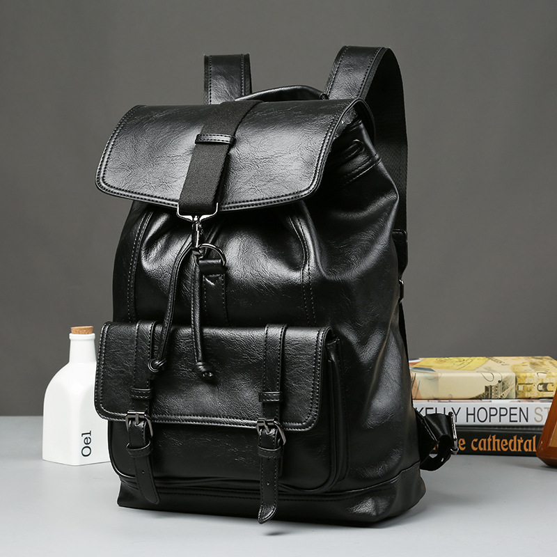 NEW Pretty Style PU Leather Men Black 15 inches Backpack Fashion Male Casual Boys School Shoulder bags for Mens fashion<br>