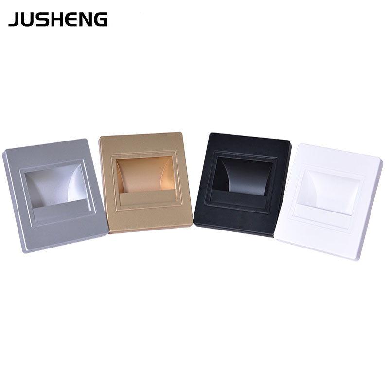 Hot selling Stair Wall Light Sconce 1.5w Recessed Led Home Wall Lighting 100-240v White/Black/Silver/Golden