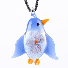 Bonsny Penguin Glaze Glass Murano Necklace Long Chain Pendant 2016 Fashion Jewelry For Women Animal Charm Collar Accessories(China)