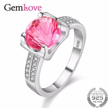 Gemlove Tested Silver 925 Pink Topaz Zircon Jewelry Gemstone Wedding Rings for Women Made of Natural Stones Beida 40% FJ001